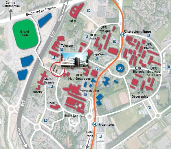 emplacement La Passerelle dans le campus